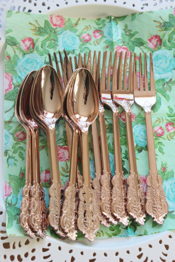 """What!? Did you know you can get disposable copper cutlery? Yep. it's true. And look at how pretty it is! Top party trends for 2017: """"No theme"""" party using pattern and color. Confetti balloons are seriously the BEST! Can you imagine how fun that will be at your next event!? Top party trends of 2017: Have a """"No theme"""" party with pattern and color. Pattern Party Trend 