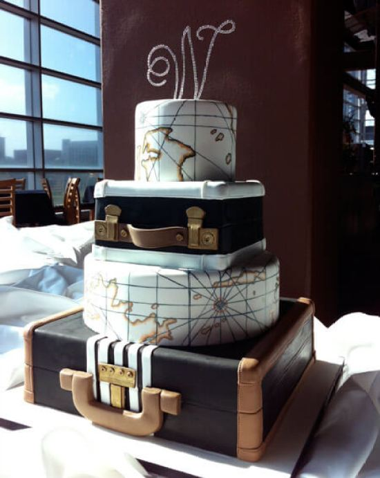 Vintage travel party themes are some of my favorite. How beautiful is this travel themed cake? Small World gets big with cultural party themes | Halfpint Design (Image 6 of 12)