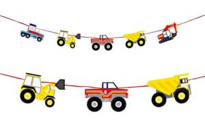 Construction Party Sources | Halfpint Design - Big Rig party garland from Meri Meri