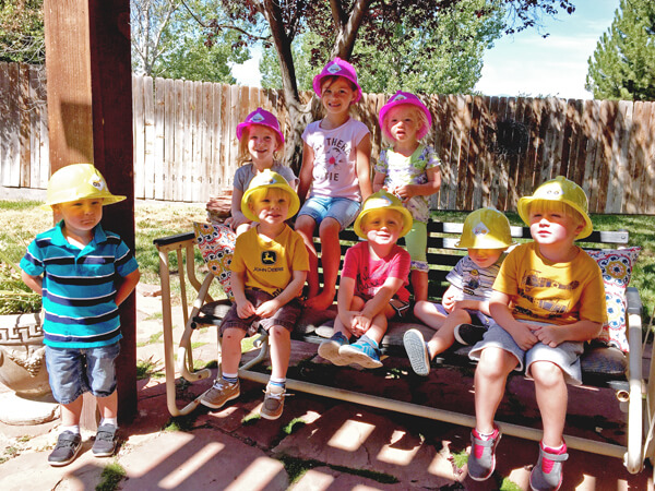 3rd birthday - Construction Party Blast | Halfpint Design - the crew getting ready for a hard days work in the backyard construction site!