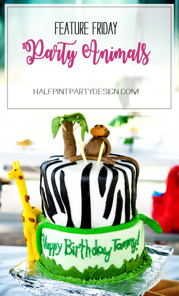Feature Friday: Party Animals!   Halfpint Design - darling party animal cake created by Emily Knowles. Check out the rest of the darling jungle themed ideas.