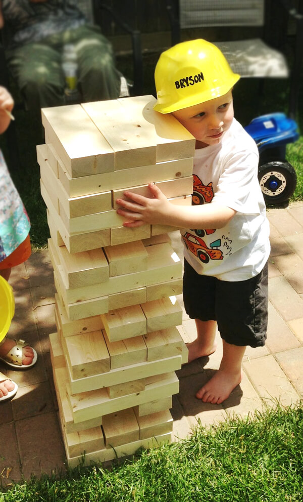 Party activities for boys 3-5 | Halfpint Design - Lifesize Jenga is awesome for little builders