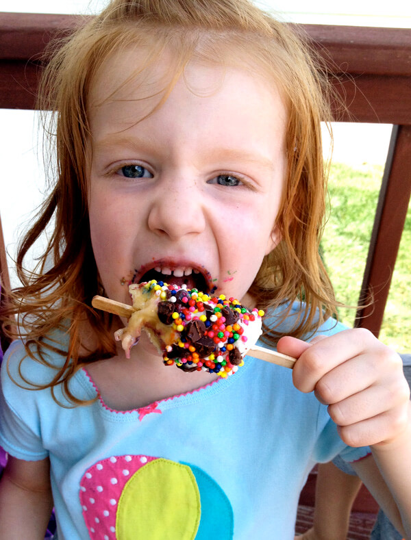 Why I Say NO to Dessert Buffets   Halfpint Design - Kids these days already consume way too much sugar. Let's give them all the fun without the crash. Frozen bananas are a favorite. Coat them with peanut butter or yogurt then let the kids choose their toppings.