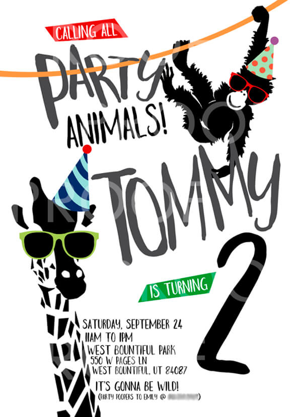 Feature Friday: Party Animals birthday!   Halfpint Design - this party animal invite was perfect