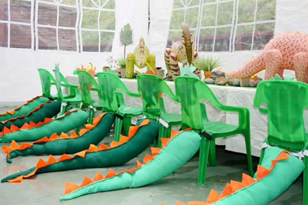 Dinosaur party. Greenery Inspired Parties | Halfpint Design - how cute are these dinosaur tails!?
