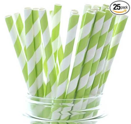 Green party supplies | Halfpint Design - These festive green striped straws make for a great St. Patrick's Day party or a fun addition to a Dinosaur party, Princess and the Frog party, reptile party, etc.