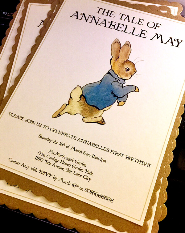 Peter Rabbit in Mr. McGregor's Garden First Birthday Party | Halfpint Design - DIY Peter Rabbit Invitation