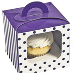 A Passion for Purple | Halfpint Design - Tired of leftover cupcakes? Send one home with each guest as a favor in these darling little cupcake boxes.