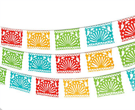 Host a Fabulous Fiesta for Cinco de Mayo | Halfpint Design - Mexican banner bunting. These are perfect to transform any space into the perfect fiesta!