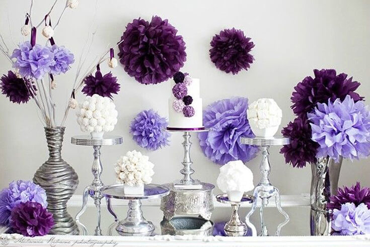 A Passion for Purple   Halfpint Design - Purple pom pom party with white, lavender, and plum