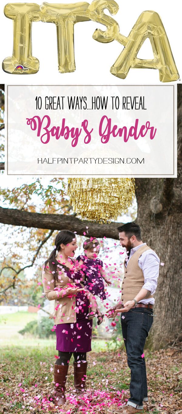 10 Ways to Reveal Baby's Gender | Halfpint Design - From Confetti pinatas to smoke canons, see how people are choosing to communicate their exciting news!
