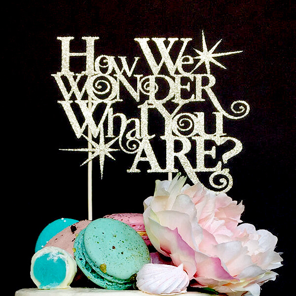 Classy Gender Reveal Party Ideas | Halfpint Design - How I wonder what you are cake topper. Perfect for a twinkle, twinkle gender reveal party theme.