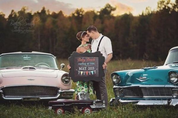 Humorous Gender Reveal Party Ideas | Halfpint Design - Racecars and ruffles. This is a classy pregnancy announcement by racecar driver Kyle Busch and his wife.