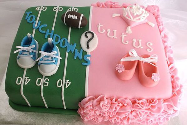Humorous Gender Reveal Party Ideas   Halfpint Design - Touchdowns or Tutus, personalized party themes based on mom and dad's interests can make the party more meaningful. Divided cake with fondant details