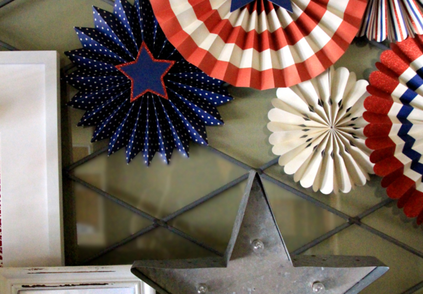 Holiday Decor Double Duty   Halfpint Design - This patriotic mantel is great for a super hero party or nautical party. Red, white, and blue are perfect party colors to use before and after 4th of July for a Wonder Woman or Captain America party (stars included) or Superman and Spiderman. Double Duty Fourth of July decor.
