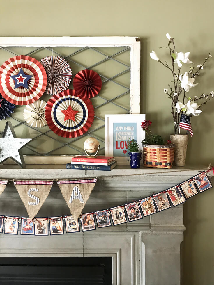 Patriotic Mantel Decor Ideas Halfpint Design Loving The More Rustic Americana Decor For My
