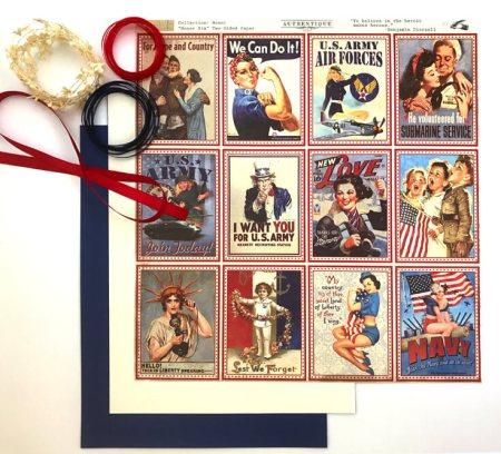 1940's Retro Patriotic Banner DIY | Halfpint Design - A great addition to your patriotic decor for 4th of July, Memorial Day, Patriot's Day, Veteran's Day or when you are just Proud to be an American! Vintage looking pin-up images. Americana decor. Step 1 - project materials.