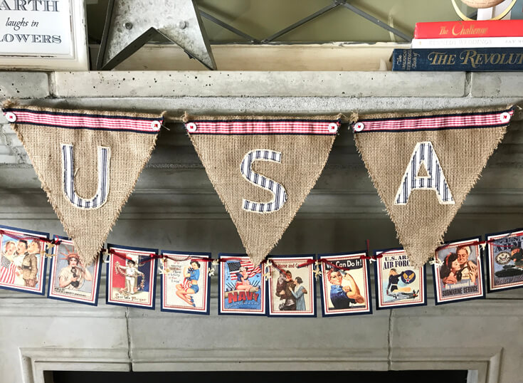Patriotic Mantel Decor Ideas   Halfpint Design - Loving the more rustic Americana decor for my fourth of July Mantel. USA burlap banner and pin-up garland. Red, white, and blue 4th of July.
