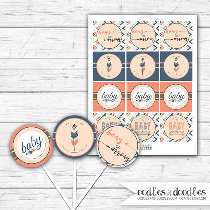 Bows or Arrows: Gender Reveal Party Ideas | Halfpint Design - Bows or arrows cupcake toppers. Easy to punch and tape to a toothpick these toppers are an easy way to customize cupcakes or other foods served at your gender reveal party.
