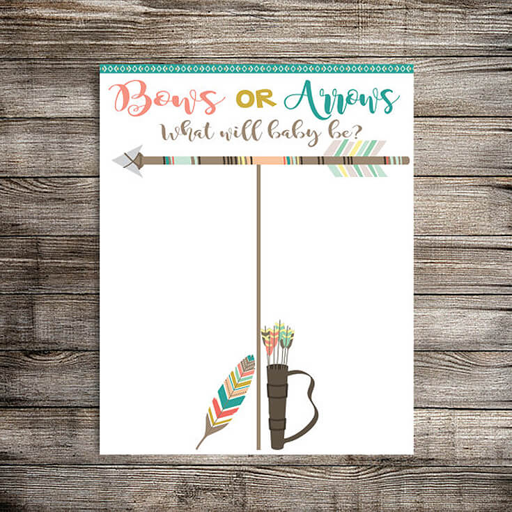 Bows or Arrows: Gender Reveal Party Ideas | Halfpint Design - Bows or arrows tally sheet. Mark your vote. Will it be a boy? (arrows) or a girl? (bows)