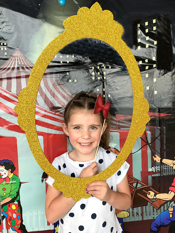 Carnival Theme Family Reunion | Halfpint Design - Photo booth number 2! With circus props on sticks. Carnival party, circus theme.