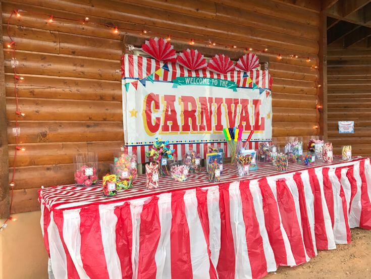 Carnival Theme Family Reunion | Halfpint Design - You've got to motivate the crowd to win tickets to earn prizes. This is a well stocked table! Carnival party, circus theme.