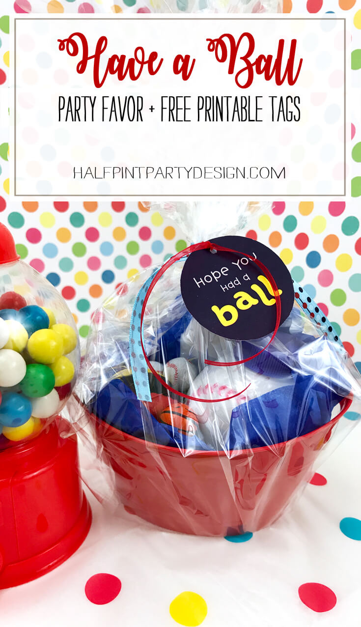 Create a party favor for a ball party | Halfpint Design - This EASY DIY party favor is a hit for a Have a Ball themed 2nd birthday party. halfpintpartydesign.com