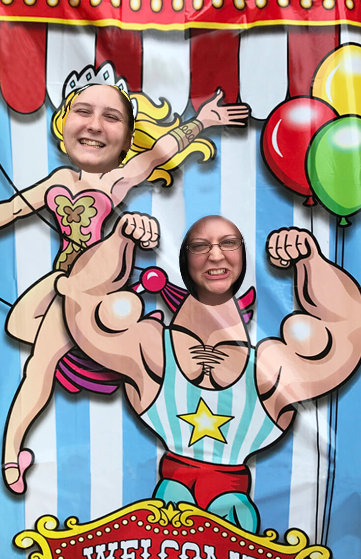 """Carnival Theme Family Reunion   Halfpint Design - Acrobat and strong man photo op, """"welcome to the carnival"""" backdrop. Carnival party, circus theme."""