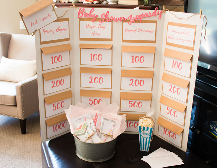 Baby Shower Jeopardy is a funny shower game that everyone enjoyed. Made using a Cricut Explore Air. - Sweet Little Peach Baby Shower | Halfpint Design