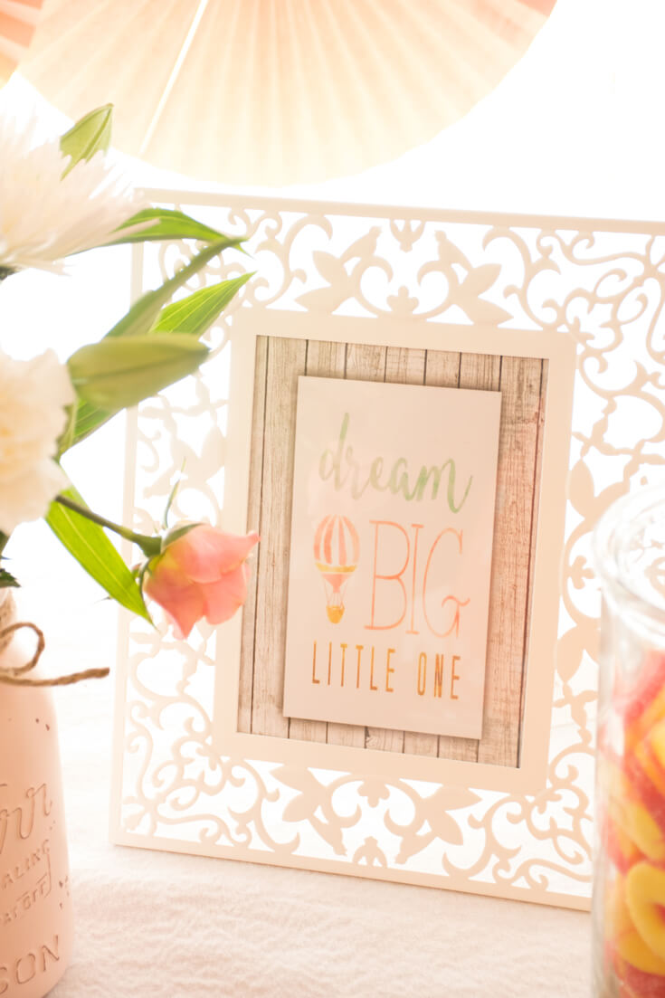 """Dream Big Little One"" image. Darling nursery graphics were used as shower decor throughout. It's so nice when items can play double duty and you can enjoy the party long after it has ended. - Sweet Little Peach Baby Shower 