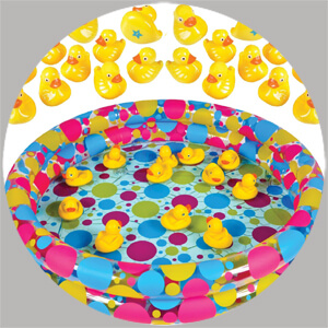 A Rubber Duck Pond matching game is a classic carnival game perfect for a PTA fundraiser, back to school carnival, or birthday party. Just add these darling ducks to a kiddie pool and you're in business - Painless Carnival Party Amusements | Halfpint Design