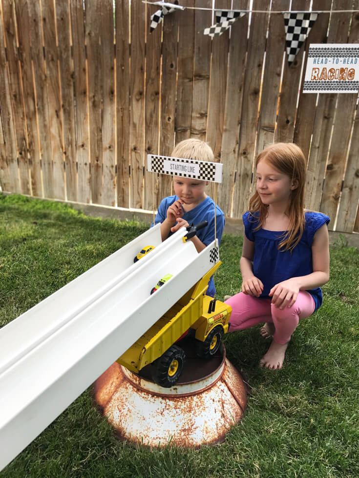 Head to head monster truck races were a hit! See how easy they were to make. Monster truck party activity ideas | Halfpint Design - boy party theme