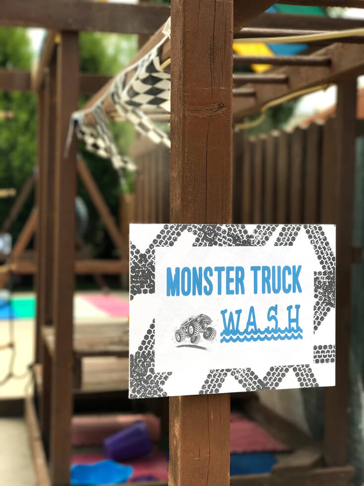"""Summer parties are hot, the """"Monster truck wash"""" gave our party goers a chance to cool off between races. Monster truck party activity ideas 