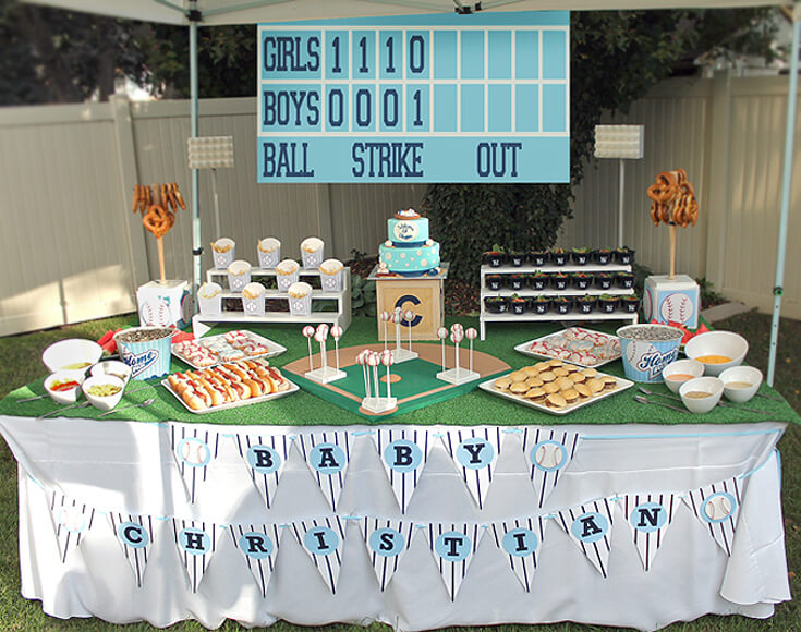 A gorgeous food table with a baseball theme. Love the stadium lighting, the custom scoreboard, and the pinstriped banner. Yankees Baseball Themed Baby Shower | Halfpint Design - boy baby shower theme, baseball party