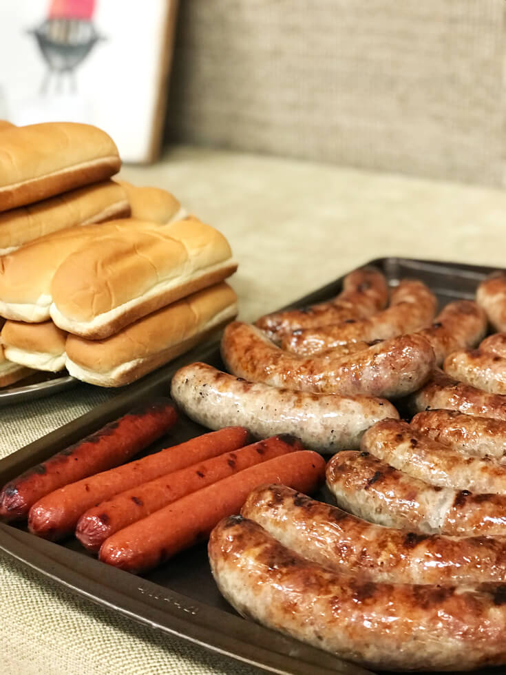 Brats and hotdogs are a must have for a Brat party! Red white and BBQ party | Halfpint Design - summer party, Memorial weekend bbq, 4th of July, Labor Day party, BBQ party, Oktoberfest, neighborhood grill, brat party