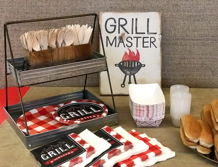 Thanks to the grill masters! Great wood sign and matching plates and napkins. Love the wooden cutlery. Red white and BBQ party | Halfpint Design - summer party, Memorial weekend bbq, 4th of July, Labor Day party, BBQ party, Oktoberfest, neighborhood grill, brat party