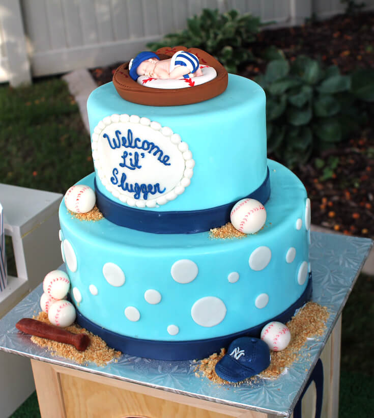 Welcome Lil' Slugger cake is so perfect for the baseball theme. Yankees Baseball Themed Baby Shower | Halfpint Design - boy baby shower theme, baseball party