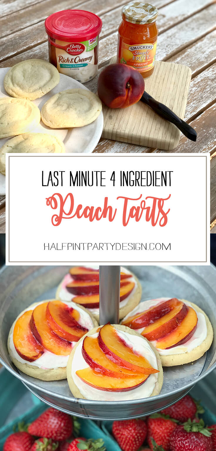 Super simple, gorgeous and delicious 4 ingredient peach tarts! Perfect for a Baby Shower, Harvest Party, or County Fair event. Peach Sugar Cookie Tart Recipe | Halfpint Design - easy recipe, cookies recipe, event food, fruit dessert, 4 ingredient, cream cheese frosting.