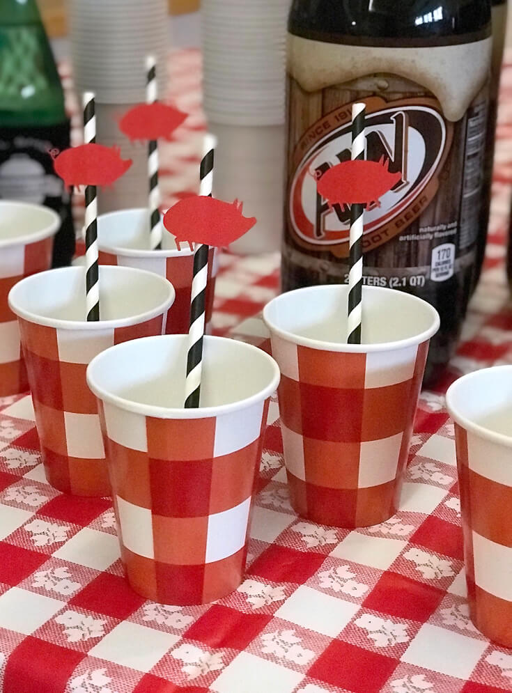 Little piggie straw toppers were a hit with the kiddos! What better way to enjoy your root beer!? Red, white, and BBQ party | Halfpint Design - summer party, Memorial weekend bbq, 4th of July, Labor Day party, BBQ party, Oktoberfest, neighborhood grill, brat party