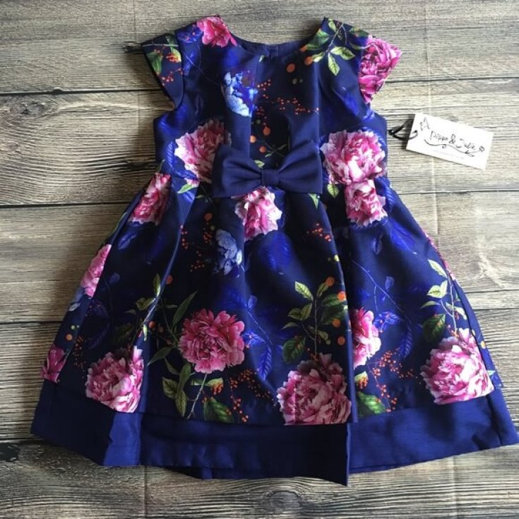 How darling is this floral party dress? Trend spotting alert! We've got cobalt and raspberry coming on strong. Party Palette: Royal Blue and Raspberry | Halfpint Design - party color, color trends, party palette
