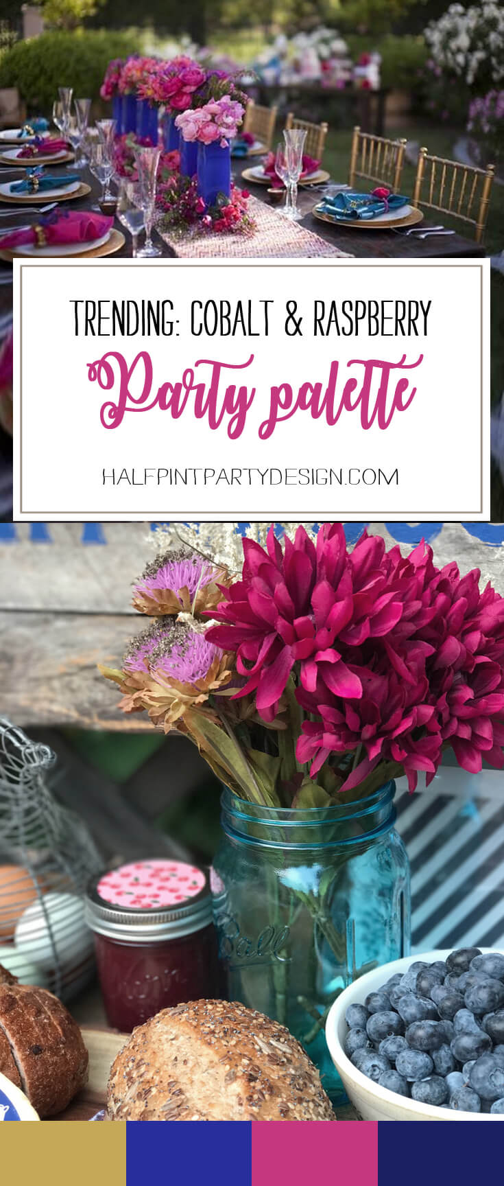 Always on the lookout for great party palettes, this cobalt and raspberry caught our eye! Trend spotting alert! Party Palette: Royal Blue and Raspberry | Halfpint Design - party color, color trends, party palette