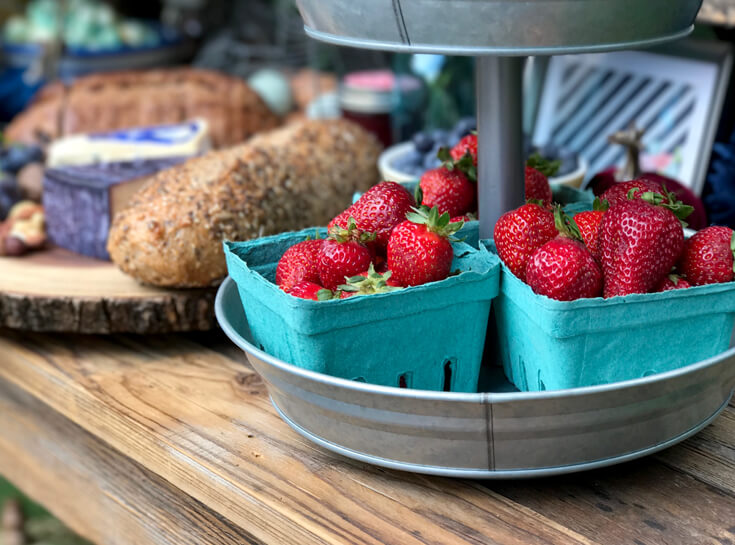 I'm a sucker for berries of any kind but the strawberry, blueberry, raspberry combo is pretty tough to beat! Farmer's Market Harvest Brunch | Halfpint Design - Fall entertaining, garden food, clean eating