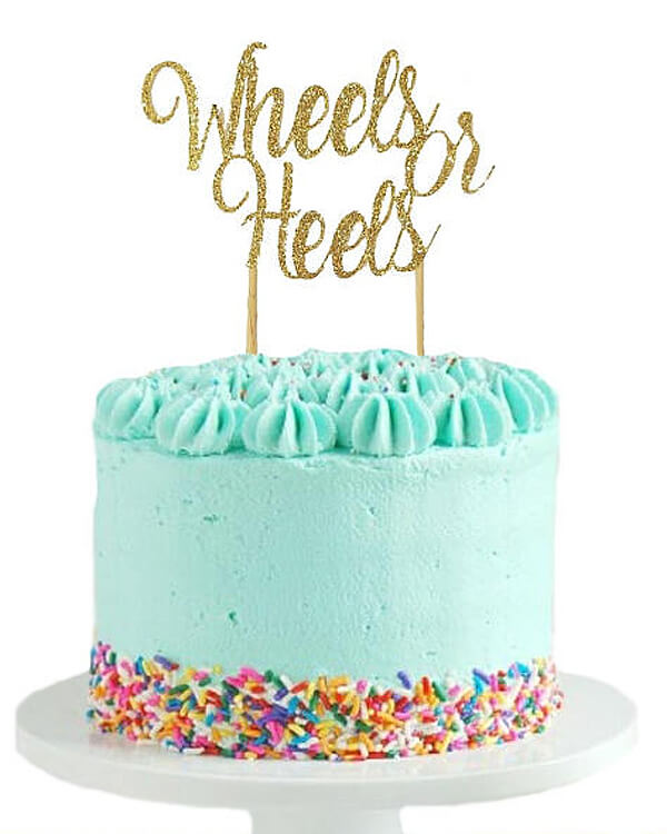 Wheels or heels pretty cut cake topper. Cake toppers are the perfect way to dress up a simple homemade or store bought cake. Wheels or Heels Gender Reveal Party Ideas | Halfpint Design - race car, motorcycle, monster trucks and heels