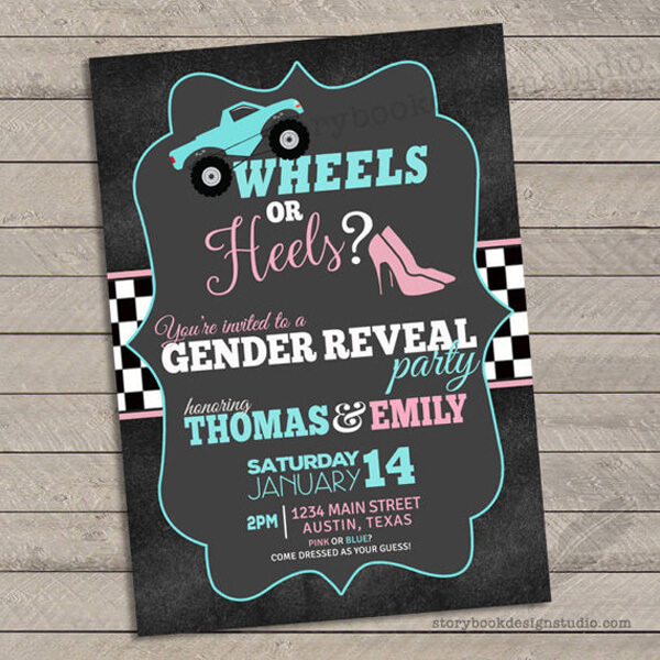 It all starts with the invitation. Are you a Monster truck fan? This monster truck wheels or heels invite is fun and sporty. Wheels or Heels Gender Reveal Party Ideas | Halfpint Design - race car, motorcycle, monster trucks and heels