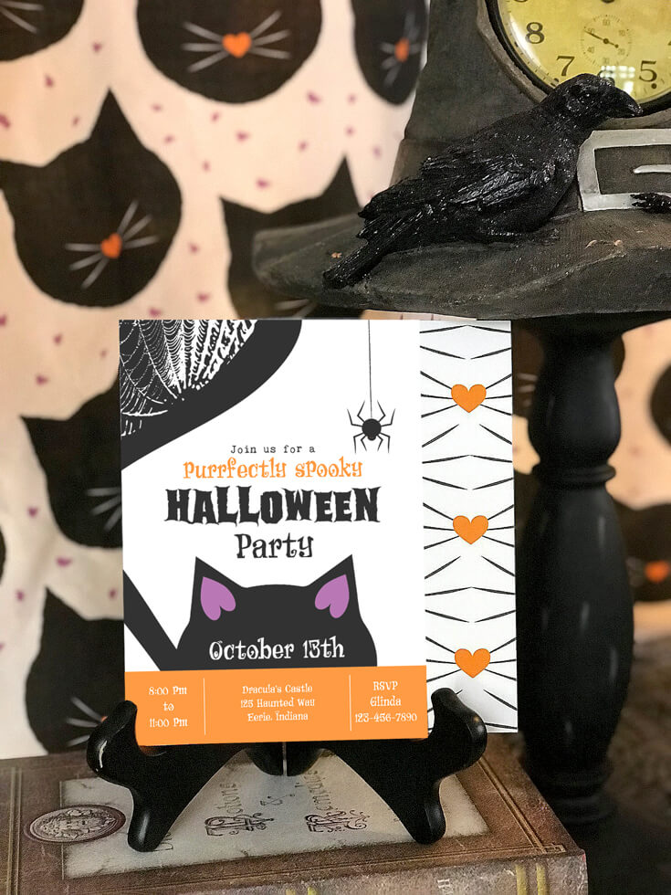 """You are invited to the cutest halloween party ever! Darling black cat halloween party invites. """"Black Cat Halloween Party Reveal"""" on Halfpint Design - Halloween party ideas, kitty cat party, kids party, cat party treats"""