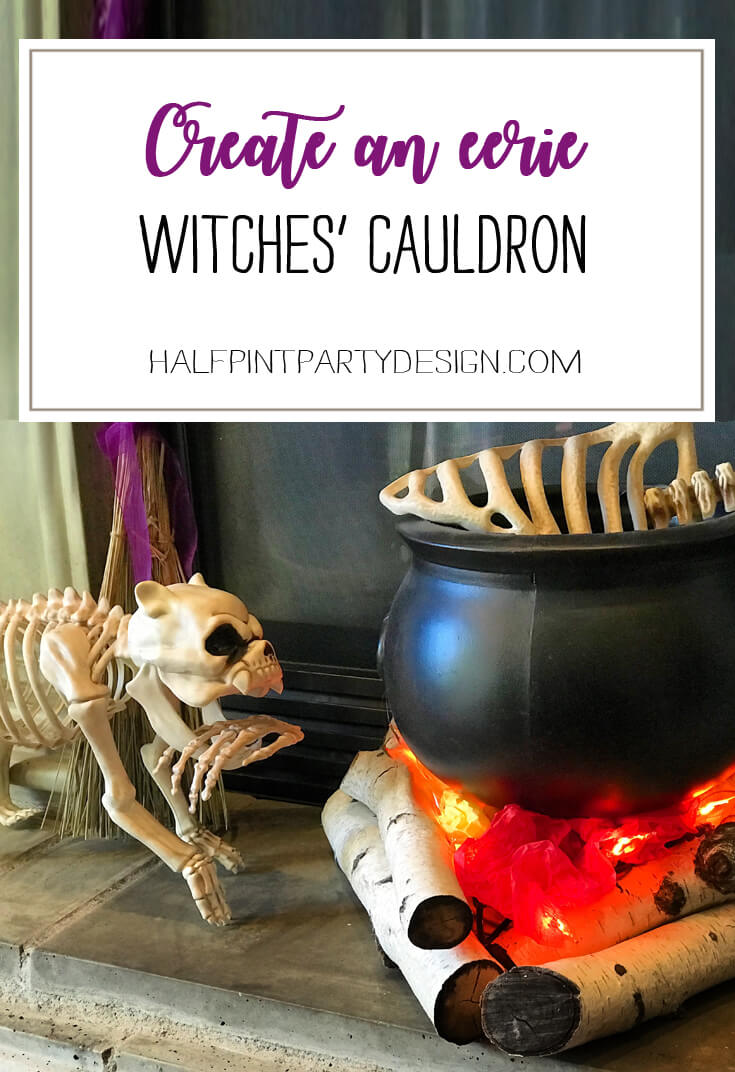 Want to make bone soup for Halloween? Create this super easy witches' cauldron with realistic flickering flames. Create an Eerie Witches' Cauldron | Halfpint Design - Halloween decorations, witch decor, faux fire, fake campfire, firelight bulbs