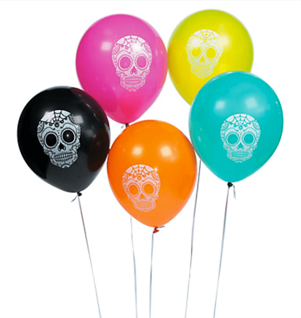 Balloons are a must have for any event. These sugar skull balloons are perfect for a Day of the Dead party. Dia de los Muertos Party Resources | Halfpint Design - Halloween party, party decorations, party clothes