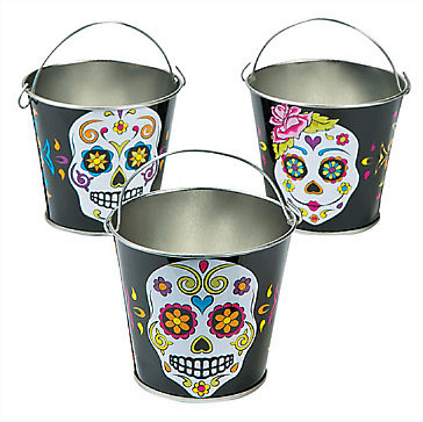 Sugar Skull Pails for perfect Day of the Dead party favors. Dia de los Muertos Party Resources   Halfpint Design - Halloween party, party decorations, party clothes