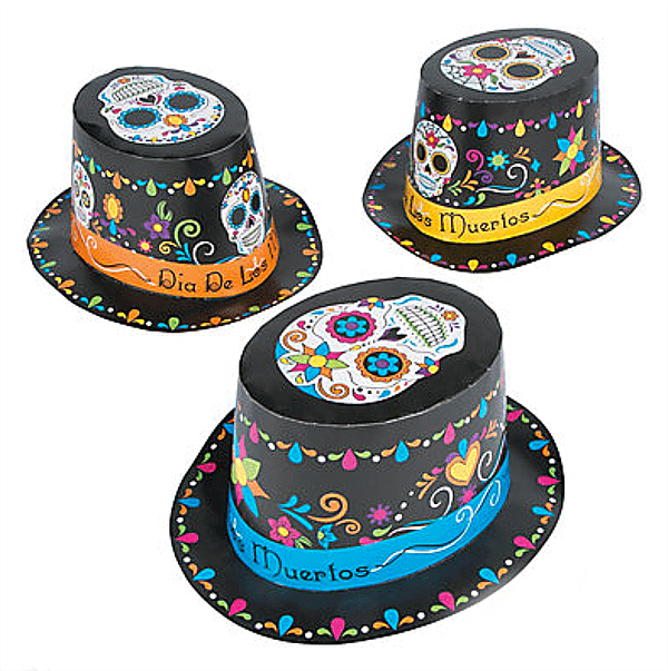 Day of the Dead paper hats are a perfect quick costume add for guests. Dia de los Muertos Party Resources   Halfpint Design - Halloween party, party decorations, party clothes