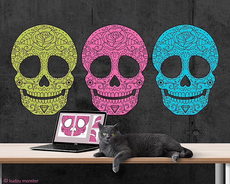 These large sugar skulls are awesome and so easy to print at home for quick and easy Day of the Dead party decorations. Dia de los Muertos Party Resources   Halfpint Design - Halloween party, party decorations, party clothes